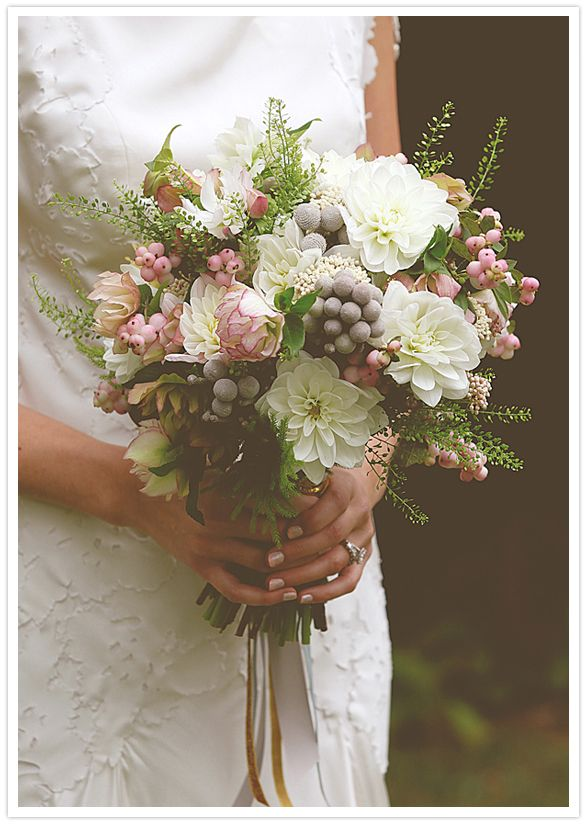 Love this bridal bouquet recipe:  Silver Brunia, Dahlia, Snowberry, Rice Flower, Peppergrass, and Hellebores. 100 Layer Cake