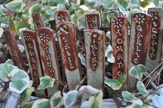 Handsculpted Clay Garden Stakes