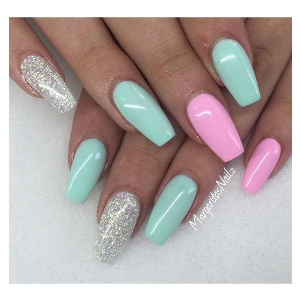 Nail art from the NAILS Magazine Nail Art Gallery, gel, gelnails, summer nails, mint green, pink, glitter, glitter gel, nail fashion, pretty nails, nails,