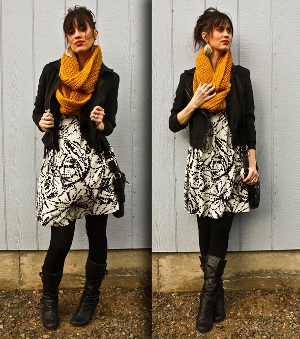 fall outfit: Ugg Boots, Color, Infinity Scarfs, Black Boots, Fall Fashion, Work Outfits, Fall Outfits Ideas, Black Tights, Dresses Jackets