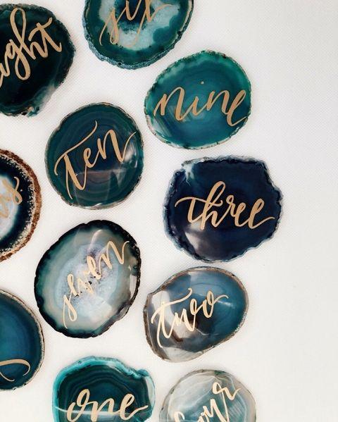 Gold Calligraphy Gemstone Escort Cards | Willow Wyyn | http://heyweddinglady.com/starry-night-wedding-ideas-indigo-blue/