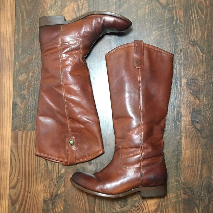 FRYE Melissa Button Extended Calf Leather Riding Boot Brown Size 7 B 77167  | eBay