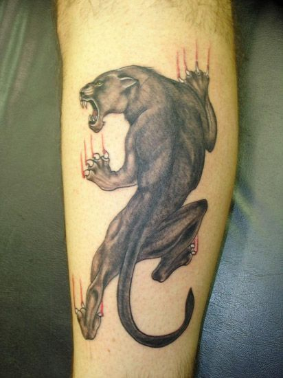 Grey Ink Panther Tattoo On Leg
