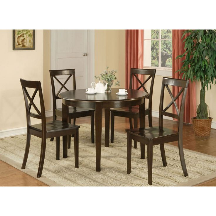 East West Furniture Boston 3 Piece Round Dining Table Set with Wooden Seat Chairs - BOST3-CAP-W