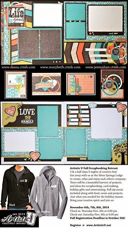 I really like the top layout... very versatile sketch. Diana's Place: September Creative Class #ChalkItUp #Sep2014SOTM #doublepage