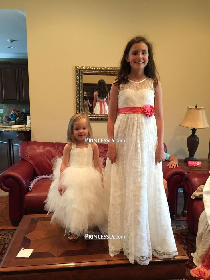 """Ivory Lace Flower Girl Dress with Champagne Flower Sash Belt"" ---- Princessly.com Customer Photos"