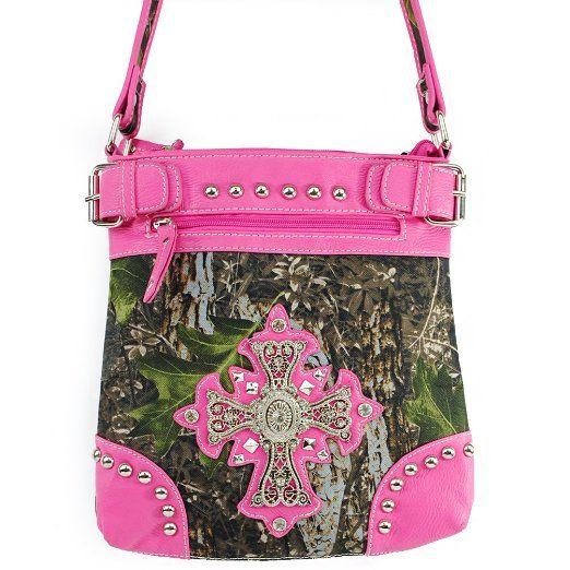 Amazon.com: New Arrival Western Handbag Camouflage Rhinestone Gemstone Round Rivet Studded Cross and Zipper Detailed Messanger Bag / Crossbody Handbag Purse in Camo and Fuchsia Pink: Clothing