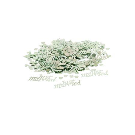 Zakje van zilveren confetti Just Married - 14gr. Leuk alternatief om te gooien na de huwelijksceremonie of om te gebruiken als decoratie op de tafel.