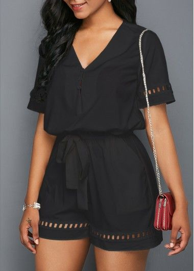 Lace Panel Black Flare Sleeve Romper on sale only US$34.90 now, buy cheap Lace P... 2