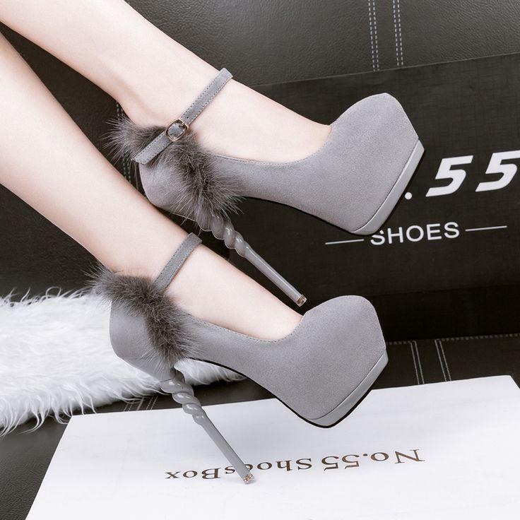 women heels shoes ankle strap heels women fur shoes green High Heels shoes stiletto pumps 2017 grey pumps wedding shoes X288