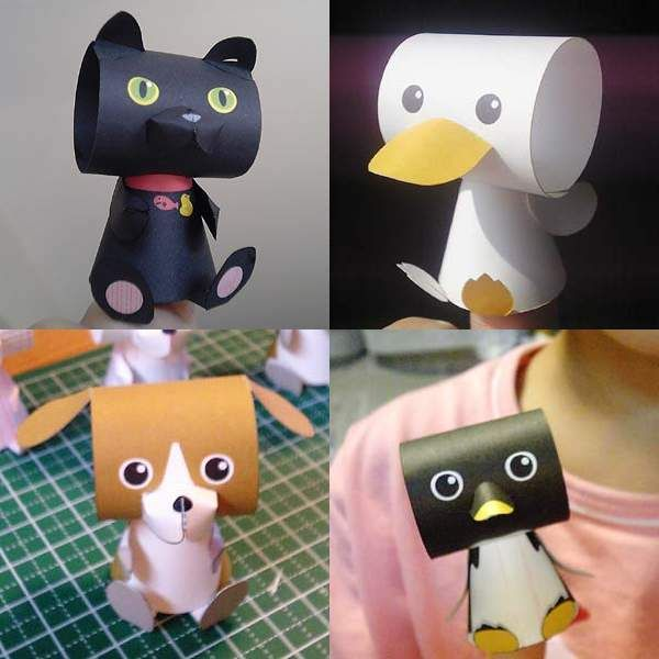 Tektonten Papercraft - FREE Papercraft, Paper Models and Paper Toys: Cute Animal Papercraft Finger Puppets