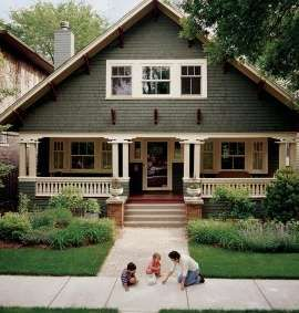 this makes my heart stop a little, not only because it reminds me of Asheville, or that it's the perfect bungalow--but there's a dad playing outside with his kids. If that doesn't spell 'perfect home' to me, I don't know what would.
