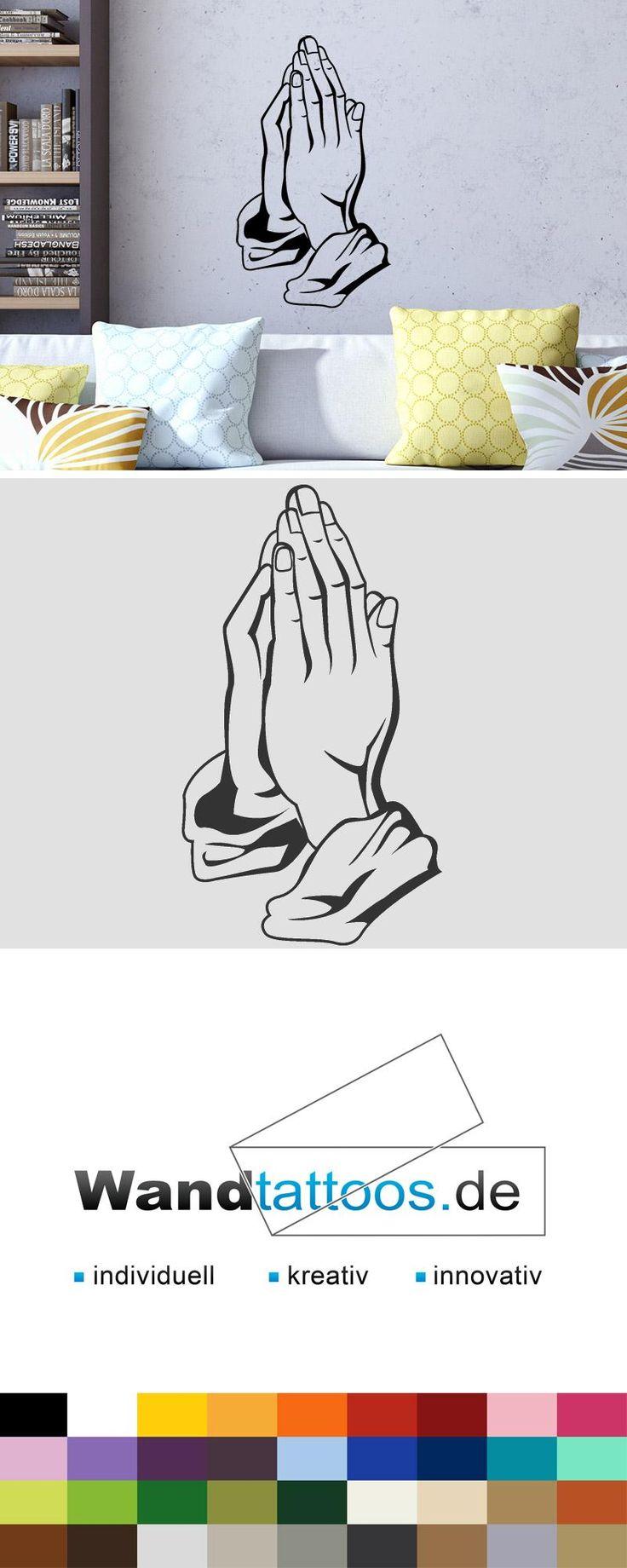 Wandtattoo Betende Hände als Idee zur individuellen Wandgestaltung. Einfach Lieblingsfarbe und Größe auswählen. Weitere kreative Anregungen von Wandtattoos.de hier entdecken!