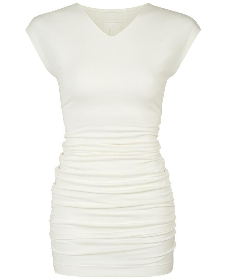 ME+EM Short V Neck Ruched Top / Natural White / Modal Jersey