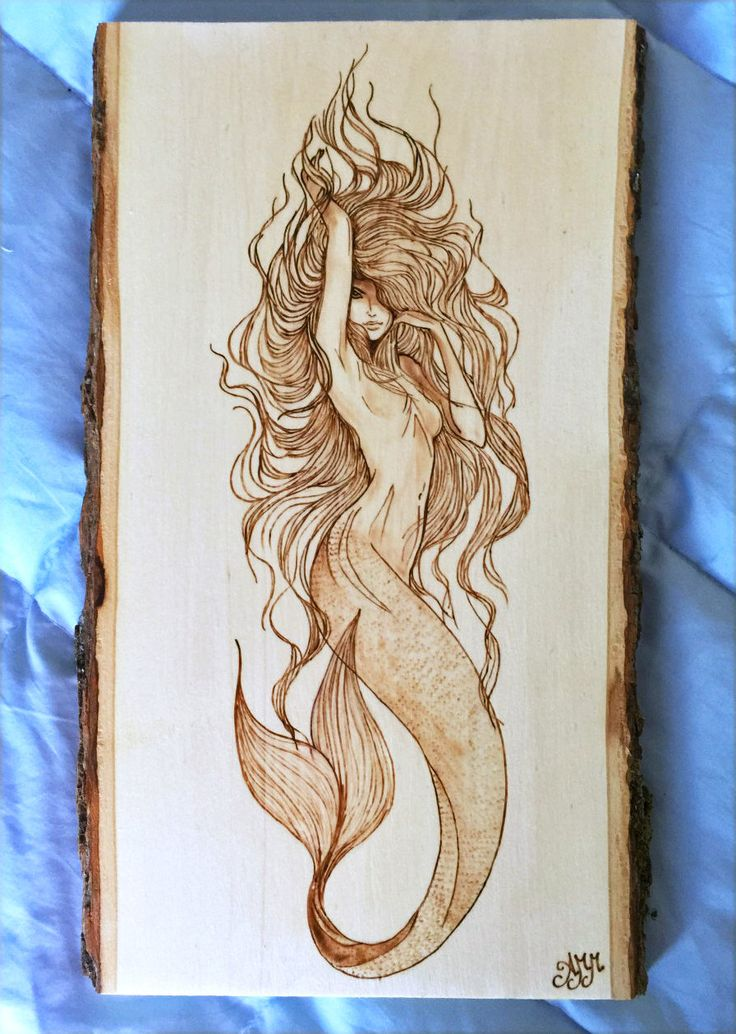 Mermaid plaque – Personalized Pyrography – Wood Burning Art – Natural Bark Border – 13″x7″