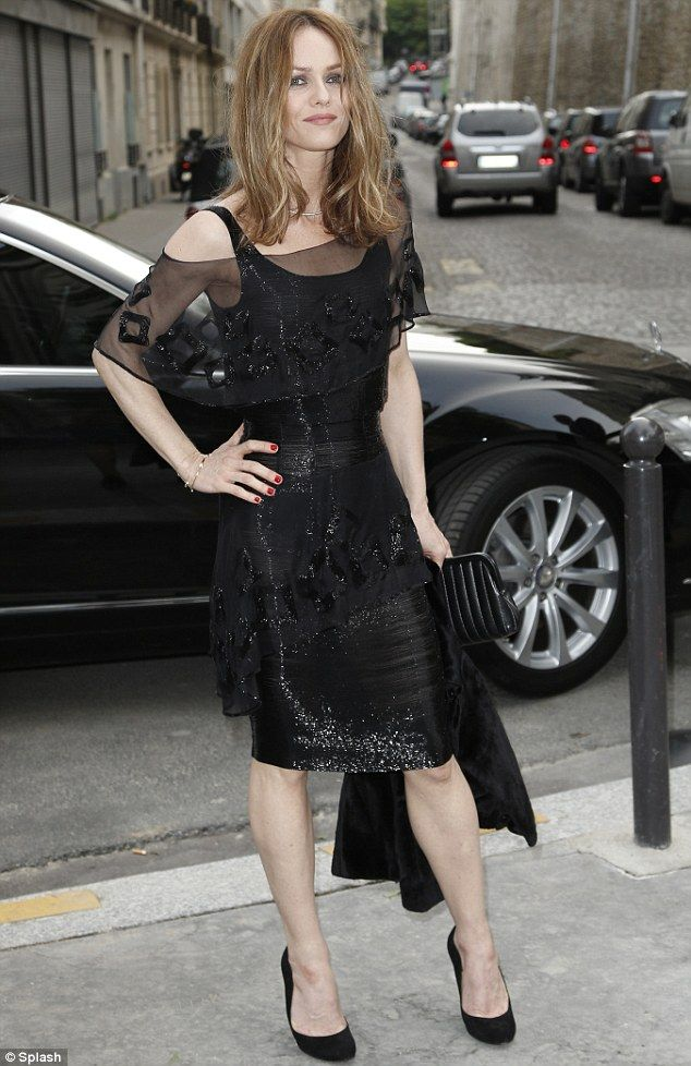 Vanessa Paradis in a classic dress with a twist at the Chanel No.5 exhibition at Palais De Tokyo in Paris.