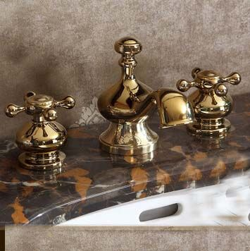 Contemporary Deck Mounted 3pc Antique Brass  Bathroom Faucet Waterfall Mixer Tap…