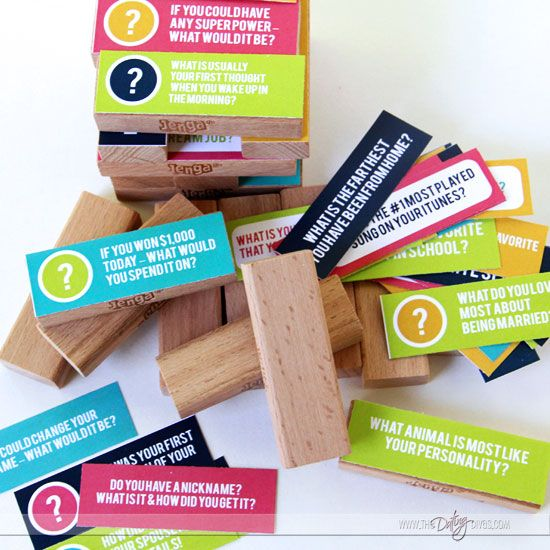 A couples date night jenga game to get to know each other better.
