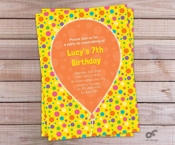 Birthday Party Invitation Personalised Printableby CFinDesign