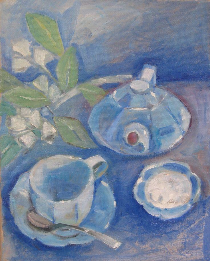 """Tea Time - Oil on canvas - 8"""" x 10"""""""