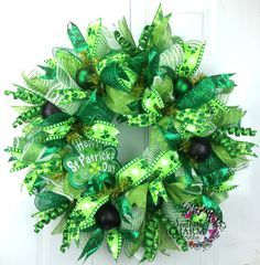 Deco Mesh Happy St Patricks Day Wreath with shamrock sign by SouthernCharmWreaths #decor #irish #green