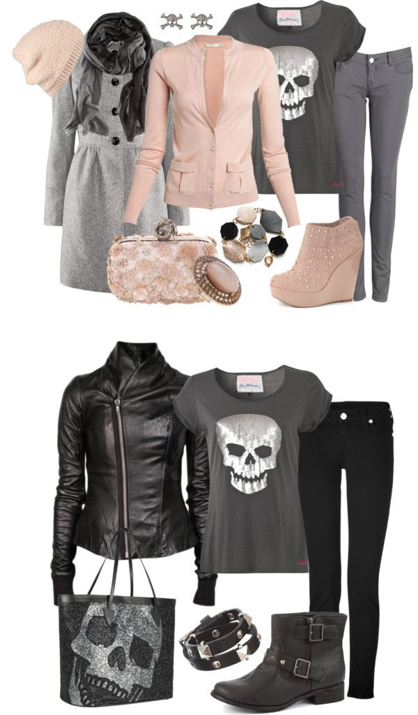 """Skull"" Naughty or Nice"" by heather-rolin ❤ liked on Polyvore"