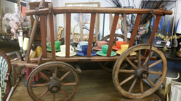 Stunning #antique cart with #vintage teacups inside, a perfect #Valentinesday treat #collingwood #homedecor #rustic