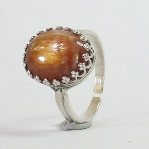 6.83 CTs.Natural Cat's Eye Sunstone in Solid 925 Sterling Silver Multisize Ring           RI246
