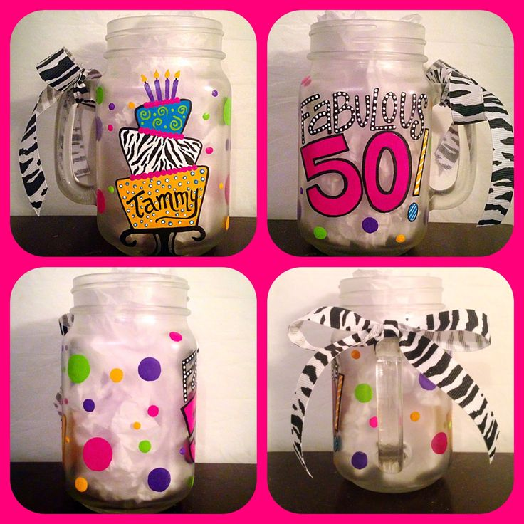 Hand Painted Fabulous 50 Birthday Mason Jar Glass ~ Dirty Thirty Wine Glass ~ Sweet Sixteen by WattsGood Artistry on Etsy. Follow WattsGood Artistry on Facebook at: https://www.facebook.com/wattsgoodartistrydesigns