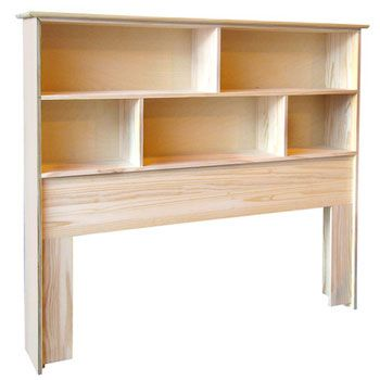 Bookshelf Headboard idea - Another row of shelves makes this taller - looks  better.