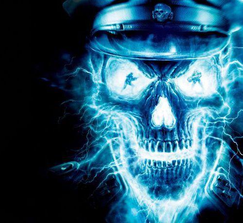 lightening blue skull wolvenstein wallpaper electrique