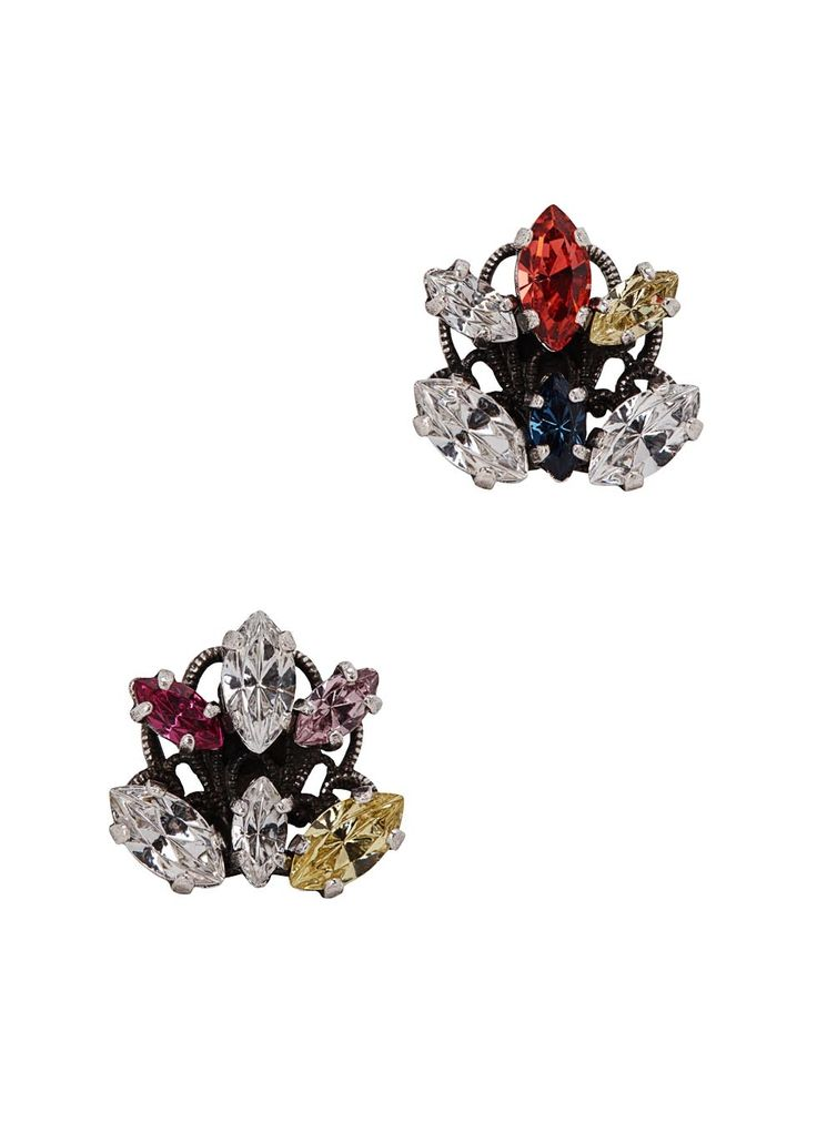 Handmade Anton Heunis silver-plated earrings Asymmetric Swarovski crystal embellishments Butterfly fastening for pierced ears Presented in a designer-stamped box