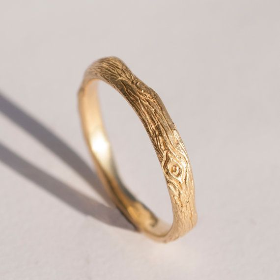Twig Ring no.2 - 14K Gold Ring, unisex ring, wedding ring, wedding band, antique, art nouveau, vintage, bark ring, wood ring, rough