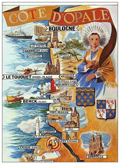 Vintage Travel Poster - Côte d'Opale - Héraldie: Les costumes traditionnels des provinces de France.