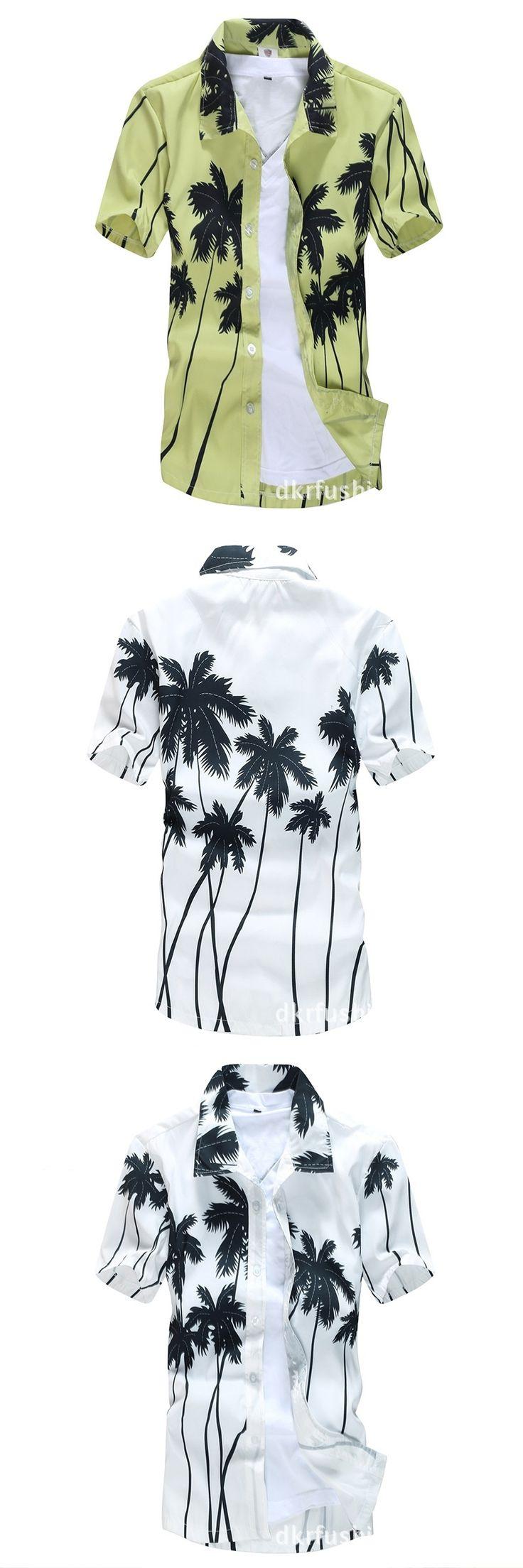Mens Hawaiian Shirt 2017 Summer Printed Quick Dry Beach Shirts Short Sleeve Floral Casual Shirts For Men Plus Size S-5XL XA067