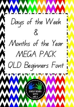 A collection of Days of the Week & Months of the Year displays with different chevron backgrounds. Font is Queensland Beginners Font. These can be printed as a whole colour set or mix and match for a bit of variety in your classroom :) The main page shows you the different chevron backgrounds available.