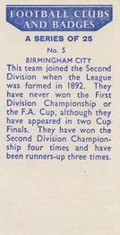 1958 Football Clubs and Badges #5 Birmingham City Back