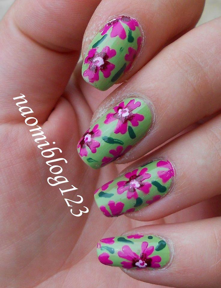 flower, spirng nail, nail, green nail, girly, flowers nail,