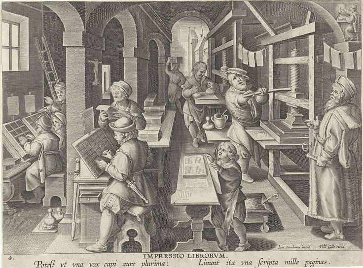 Philips Galle | Boekdrukkunst, Philips Galle, c. 1589 - c. 1593 | Een boekdrukkerij met letterzetters links en de drukpersen rechts. De pas gedrukt vellen hangen op lijntjes te drogen. Op de achtergrond rechtsboven een geleerde die schrijft in zijn werkkamer. De prent heeft een Latijns onderschrift en maakt deel uit van een negentiendelige serie over nieuwe uitvindingen en ontdekkingen.