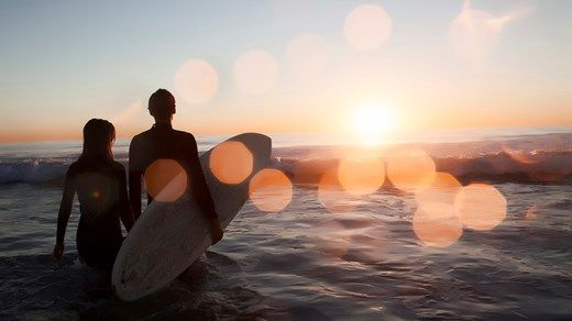 Surfer couple in the sunset #ocean #surfers #surfer #love