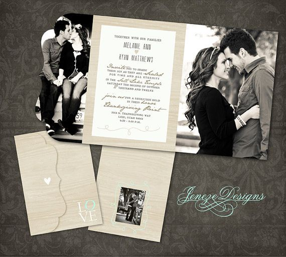 Wedding Invitation Boutique Tri Folded Design Template Only For