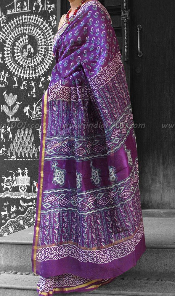 Elegant Chanderi Saree with Block Printing | India1001.com  #Chanderi #Sarees