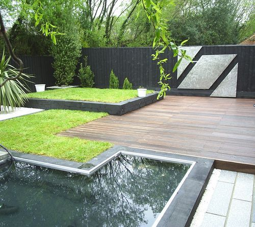 Modern Atlanta Landscape Design: Modern Garden With Charred Wood Fencing