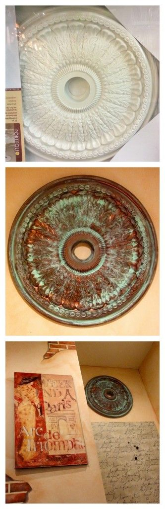Paint a store-bought ceiling medallion with copper paint and then use a chemical patina to age it. Gorgeous!