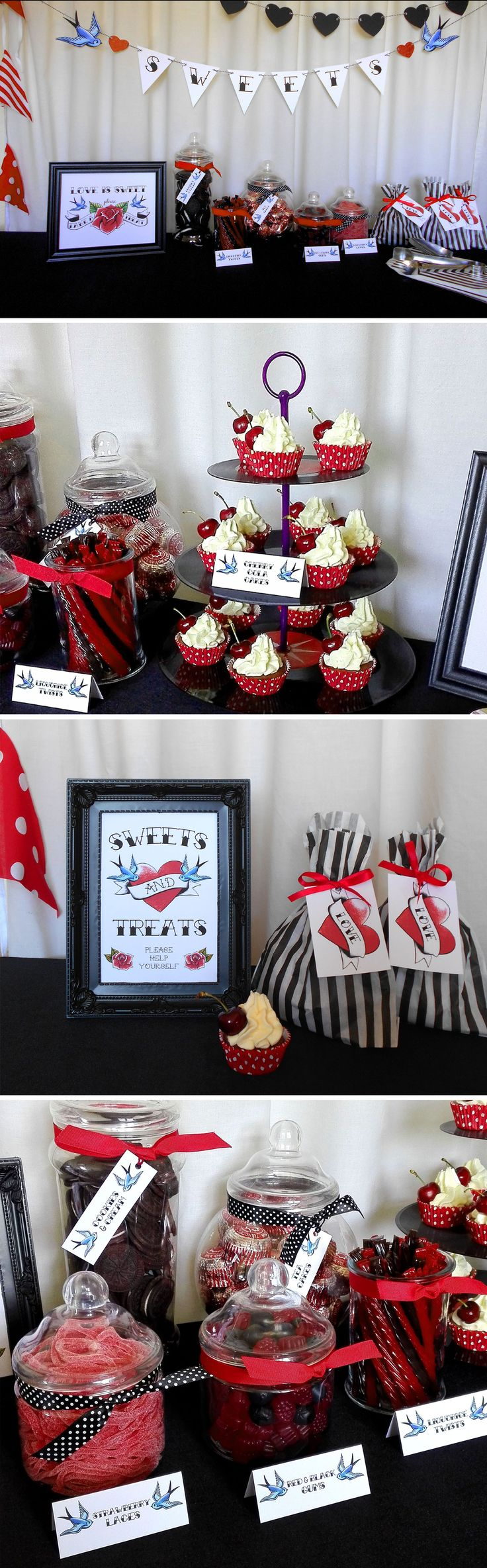 Tattoo Style Sweet Buffet Candy Table Tags, Labels, Signs, Bunting, everything you need for an amazing Rockabilly Wedding!