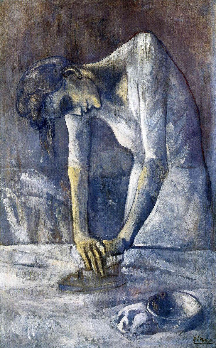 The ironer  La repasseuse  enlarge      Artist: Pablo Picasso  Completion Date: 1904  Style: Expressionism  Period: Blue Period  Genre: genre painting  Technique: oil  Material: canvas  Dimensions: 116.2 x 73 cm