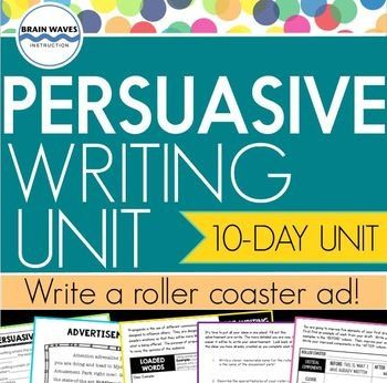 This unit is hands-down one of the most motivating and engaging Persuasive Writing units! That's because students get to design a roller coaster and then create a persuasive advertisement for their ride. They learn all about the elements of persuasive writing along with figurative language and propaganda techniques so that they can attempt to persuade others to try out their