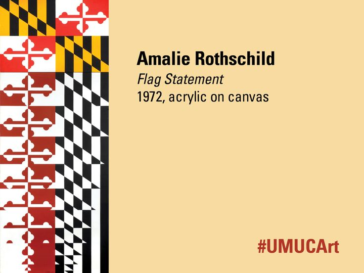 """Our featured #UMUCArt artist this week is painter, sculptor, and printmaker Amalie Rothschild. She is best known as an abstract geometric painter and sculptor who often paid homage to historical themes. This work, called """"Flag Statement"""", is part of the UMUC art collection. What are your thoughts on the abstract nature of this piece?"""