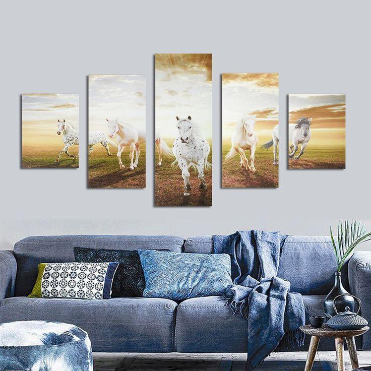 5Pcs Modern Canvas Painting Running Horses Unframed Wall Art Bedroom Living Room Home Decor