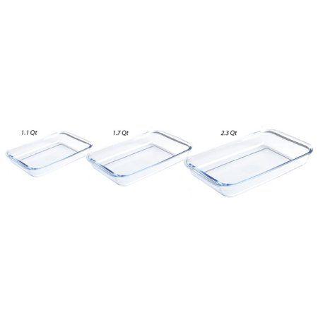 Sunbeam Everyday Glass Casserole Bakeware Set (3 Pieces), Clear